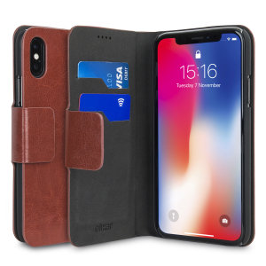 The Olixar leather-style iPhone X Wallet Case in brown attaches to the back of your phone to provide enclosed protection and can also be used to hold your credit cards. So leave your regular wallet at home when you need to travel light.