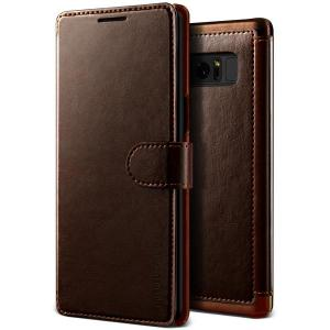 The VRS Design Dandy Wallet Case in brown for the Samsung Galaxy Note 8 comes complete with card slots, a large document pocket and is made with a luxurious leather-style material for a classic, prestige and professional look.