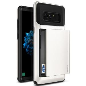 Protect your Samsung Galaxy Note 8 with this precisely designed case in cream white from VRS Design. Made with tough yet slim material, this hardshell construction with soft core features patented sliding technology to store two credit cards or ID.