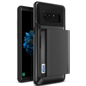 Protect your Samsung Galaxy Note 8 with this precisely designed case in metallic black from VRS Design. Made with tough yet slim material, this hardshell construction with soft core features patented sliding technology to store two credit cards or ID.