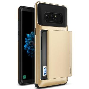 Protect your Samsung Galaxy Note 8 with this precisely designed case in gold from VRS Design. Made with tough yet slim material, this hardshell construction with soft core features patented sliding technology to store two credit cards or ID.