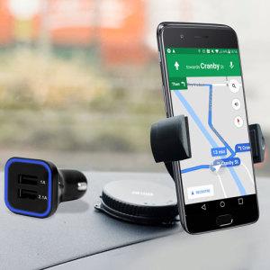 Artículos esenciales que necesitará para su smartphone durante un viaje en coche. Este pack de coche Olixar DriveTime incluye un soporte de coche y un cargador para su OnePlus 5.