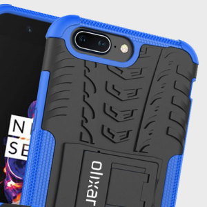 Protect your OnePlus 5 from bumps and scrapes with this blue ArmourDillo case from Olixar. Comprised of an inner TPU case and an outer impact-resistant exoskeleton, with a built-in viewing stand.