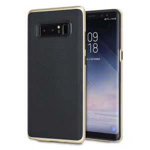 Hybrid layers of robust TPU and hardened polycarbonate with a premium matte finish non-slip carbon fibre design, the Olixar X-Duo case in black and gold keeps your Samsung Galaxy Note 8 safe, sleek and stylish.