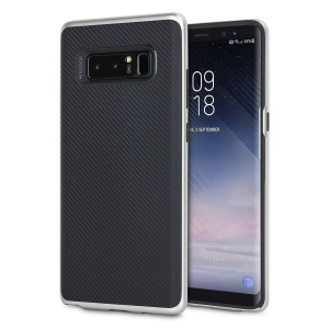 Hybrid layers of robust TPU and hardened polycarbonate with a premium matte finish non-slip carbon fibre design, the Olixar X-Duo case in black and silver keeps your Samsung Galaxy Note 8 safe, sleek and stylish.