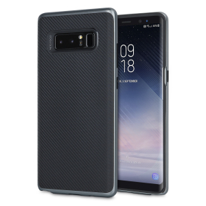 Hybrid layers of robust TPU and hardened polycarbonate with a premium matte finish non-slip carbon fibre design, the Olixar XDuo case in black and metallic grey keeps your Samsung Galaxy Note 8 safe, sleek and stylish.