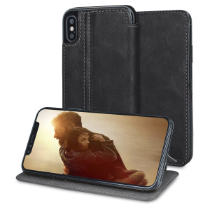 Lavish your iPhone X with a luxurious flip wallet case. Featuring a black genuine leather exterior with beautiful stitching details, this Olixar wallet case will also store your credit and debit cards...