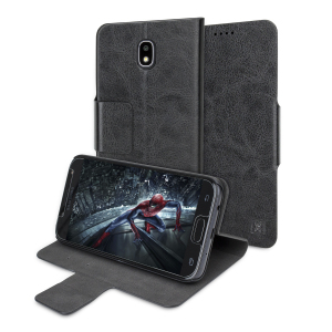 The Olixar leather-style Samsung Galaxy J5 2017 Wallet Case in black attaches to the back of your phone to provide enclosed protection and can also be used to hold your credit cards. So leave your regular wallet at home when you need to travel light.