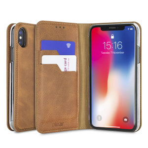 A premium slimline tan genuine leather case. The Olixar genuine leather executive wallet case offers perfect protection for your iPhone X, as well as featuring a smart magnetic media stand and slots for your cards, cash and documents.