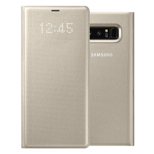 Protect your Samsung Galaxy Note 8 screen from harm and keep up to date with your notifications through the intuitive LED display with the official gold LED cover from Samsung.