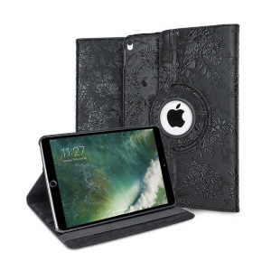 This ingenious black floral luxury rotating stand case from Olixar allows for easy media viewing in either portrait or landscape orientation. The case also includes card and ID slots and a detachable hard shell for travelling light.