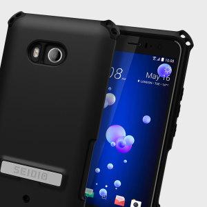 Dilex Case Hülle für das HTC U11 von Seidio bietet robusten Schutz in zwei Schichten mit integriertem Standfuß und Gürtelclip Holster