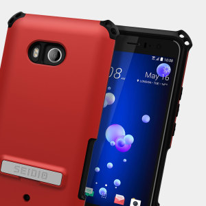 Protect your HTC U11 with this dark red / black Dilex case from Seidio. This case provides shock absorbing protection with two interlocking layers and includes an integrated kickstand for easy media viewing.