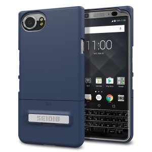 A sleek and slimline soft-touch midnight blue / grey case for the BlackBerry KEYone. Offering superb protection, minimal bulk and an integrated kickstand for viewing media.