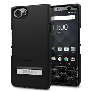 A sleek and slimline soft-touch black case for the BlackBerry KEYone. Offering superb protection, minimal bulk and an integrated kickstand for viewing media.