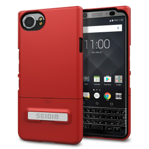 A sleek and slimline soft-touch dark red / grey case for the BlackBerry KEYone. Offering superb protection, minimal bulk and an integrated kickstand for viewing media.