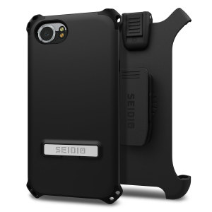 Protect your BlackBerry KEYone with this black Dilex Case from Seidio. This case provides shock absorbing protection with two interlocking layers and includes an integrated kickstand and belt-clip holster.