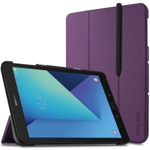 Keep your Samsung Galaxy Tab S3 9.7 protected from damage with this purple book cover with integrated multi-level stand.