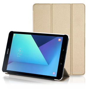 This gold slim stand case offers premium protection for your entire Samsung Galaxy Tab S3 in a sleek, slender and elegant form. Featuring an ingenious folding front cover which doubles as a viewing stand - perfect for media, gaming and more.