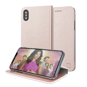 Protect your iPhone X with this durable and stylish rose gold leather-style wallet case from Olixar, featuring two card slots. What's more, this case transforms into a handy stand to view media.