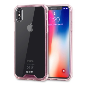 Custom moulded for the iPhone X. This rose gold and clear Olixar ExoShield tough case provides a slim fitting stylish design and reinforced corner shock protection against damage, keeping your device looking great at all times.