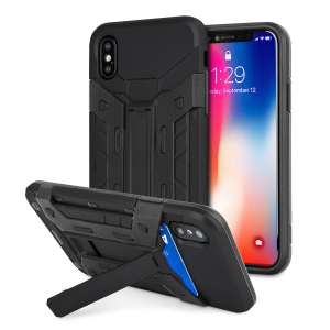 Equip your iPhone X with rugged protection and superb functionality with the X-Trex case in black from Olixar. Featuring a handy kickstand for viewing media in both portrait and landscape and an ingenious secure credit card compartment.