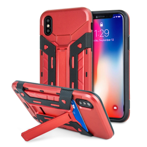 Equip your iPhone XS / X with rugged protection and superb functionality with the XTrex case in red from Olixar. Featuring a handy kickstand for viewing media in both portrait and landscape and an ingenious secure credit card compartment.