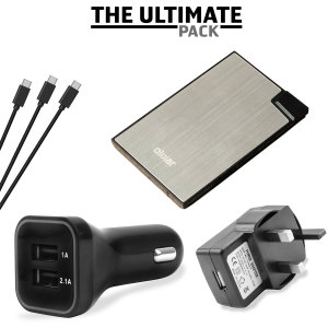 The ultimate USB-C charging pack for all your power needs, featuring a super fast in-car charger and mains adapter, portable power bank and 3x USB-C cables. Never be without battery power ever again!