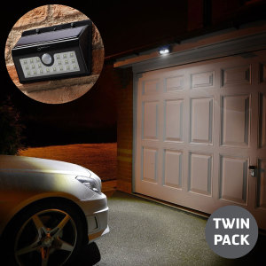 Increase security and safety around your property or business with this twin pack of motion sensitive infrared solar powered security lamps. With 20 powerful LEDs, 3 modes, a 2,200mAh battery that can last through the night with IP65 rating.