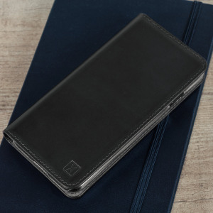A premium slimline black genuine leather case. The Olixar genuine leather executive wallet case offers perfect protection for your LG V30, as well as featuring a smart magnetic media stand and slots for your cards, cash and documents.
