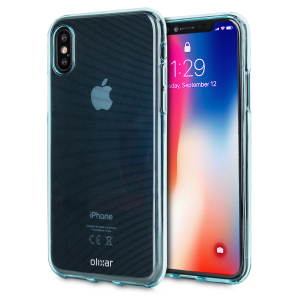 Custom moulded for the iPhone X, this blue FlexiShield gel case from Olixar provides excellent protection against damage as well as a slimline fit for added convenience.