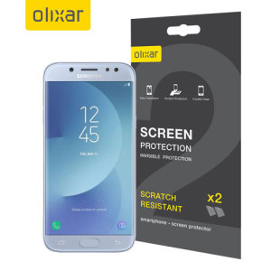 Keep your J5 2017's screen in pristine condition with this Olixar scratch-resistant screen protector 2-in-1 pack.