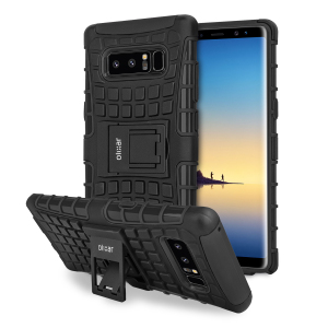 Protect your Samsung Galaxy Note 8 from bumps and scrapes with this black ArmourDillo case from Olixar. Comprised of an inner TPU case and an outer impact-resistant exoskeleton, with a built-in viewing stand.