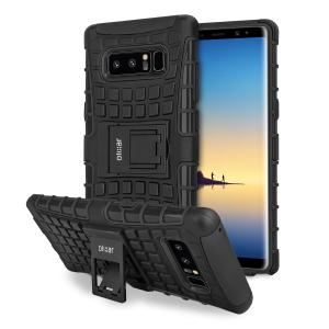 Bescherm je Samsung Galaxy Note 8 tegen stoten en schrapen met dit ArmourDillo case. Bestaat uit een binnenkoffer TPU en een buitenste schokbestendig exoskelet, met een ingebouwde kijkstand.
