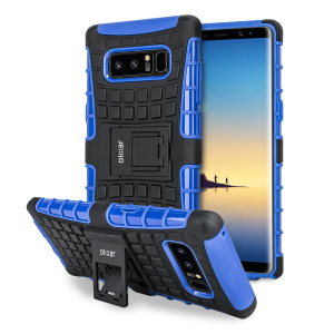 Protect your Samsung Galaxy Note 8 from bumps and scrapes with this blue ArmourDillo case from Olixar. Comprised of an inner TPU case and an outer impact-resistant exoskeleton, with a built-in viewing stand.