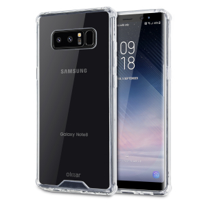 Custom moulded for the Samsung Galaxy Note 8. This crystal clear Olixar ExoShield tough case provides a slim fitting stylish design and reinforced corner shock protection against damage, keeping your device looking great at all times.