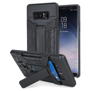Equip your Samsung Galaxy Note 8 with rugged protection and superb functionality with the X-Trex case in black from Olixar. Featuring a kickstand for viewing media in both portrait and landscape and an ingenious secure credit card compartment