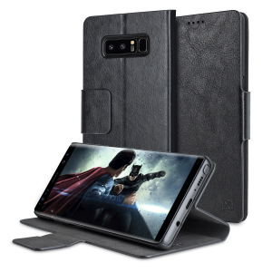 Protect your Samsung Galaxy Note 8 with this durable and stylish black leather-style wallet case by Olixar. What's more, this case transforms into a handy stand to view media.