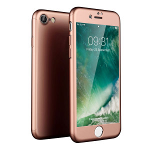 Full front, back and screen protection is as easy as 1-2-3 with the Olixar X-Trio in rose gold. With a slimline shell for the back and front that clips together seamlessly and a tempered glass screen protector, your iPhone 7S is fully encased and safe.