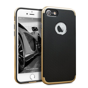 Hybrid layers of robust TPU and hardened polycarbonate with a premium matte finish non-slip carbon fibre design, the Olixar X-Duo case in black and gold keeps your iPhone 7S safe, sleek and stylish.