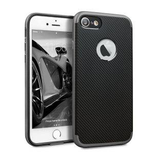 Hybrid layers of robust TPU and hardened polycarbonate with a premium matte finish non-slip carbon fibre design, the Olixar X-Duo case in black and metallic grey keeps your iPhone 7S safe, sleek and stylish.