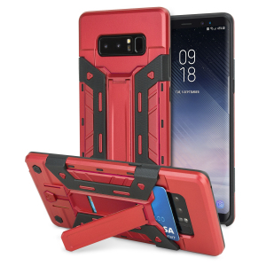 Equip your Samsung Galaxy Note 8 with rugged protection and superb functionality with the XTrex case in red from Olixar. Featuring a kickstand for viewing media in both portrait and landscape and an ingenious secure credit card compartment