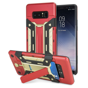 Equip your Samsung Galaxy Note 8 with rugged protection and superb functionality with the X-Trex case in red and gold from Olixar. Featuring a kickstand for viewing media in both portrait and landscape and an ingenious secure credit card compartment
