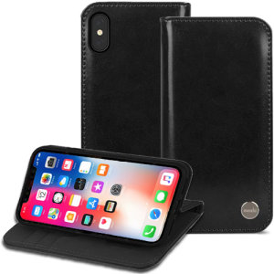 The Moshi Overture Leather-Style Wallet Case for iPhone X in charcoal black comes complete with card slots and is made with a luxurious leather-style material for a classic, prestige and professional look.