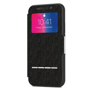 The Moshi SenseCover for the iPhone X in Charcoal Black is a unique case with a touch sensitive cover that allows you to quickly view the time/date as well as answering calls without the need to open the case.
