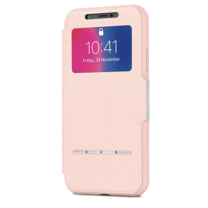 The Moshi SenseCover for the iPhone X in Luna Pink is a unique case with a touch sensitive cover that allows you to quickly view the time/date as well as answering calls without the need to open the case.