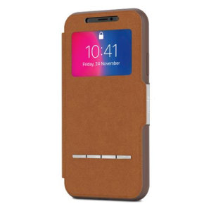 The Moshi SenseCover for the iPhone X in Caramel is a unique case with a touch sensitive cover that allows you to quickly view the time/date as well as answering calls without the need to open the case.