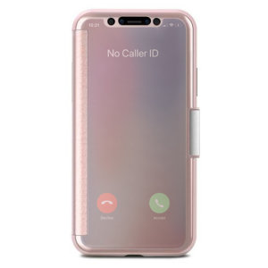 The Moshi StealthCover for the iPhone X in champagne pink is a unique folio case with a clear view cover that allows you to quickly view the time/date.