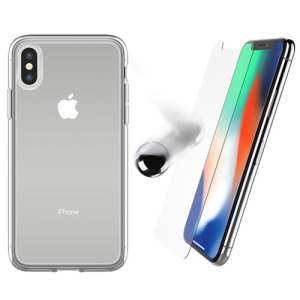 Keep your iPhone X fully protected with this amazing bundle pack featurng an OtterBox gel case and tempered glass screen protector. The slim and clear design shows off your iPhone's sleek aesthetics while it stays well guarded.