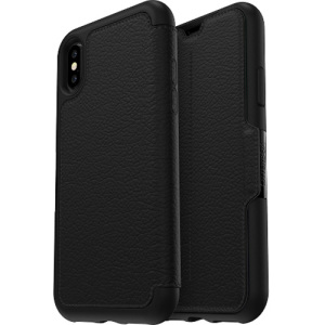 A sophisticated lightweight genuine leather case, the OtterBox Strada wallet cover in black offers perfect protection for your iPhone X, as well as featuring slots for your cards, cash and documents.